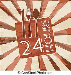 24 hours sign over  vintage background. vector illustration