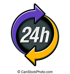 24 hours sign - Vector illustration of twenty four hours...