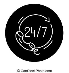 24 hours support black icon, vector sign on isolated...