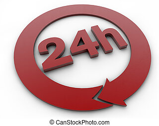 24 hours - symbol over white background