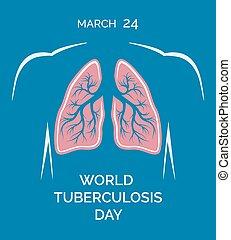 24, humain, poumons, march., illustration, vecteur, tuberculose, mondiale, jour