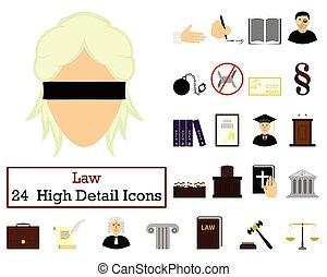 24, icônes, droit & loi, ensemble