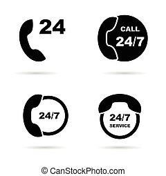 24, icona, servizio, illustrazione, ora