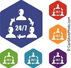 24, icone, sostegno, vettore, 7, hexahedron