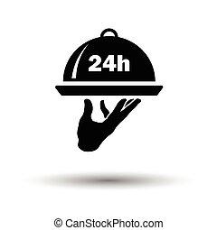 24, icono, servicio de habitación, hora