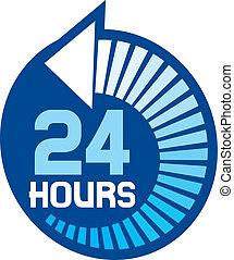 24, ikon, timmar