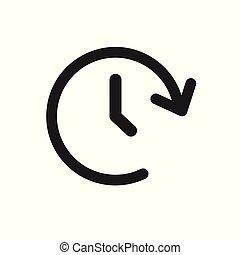 24, illustration., klok, tijdopnemer, meldingsbord, uren, vector, tijd, icon.