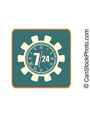 24, jelkép, 7, bekapcsol, óra