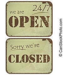 24, jogo, grunge, signs:, -, horas, fechado, abertos