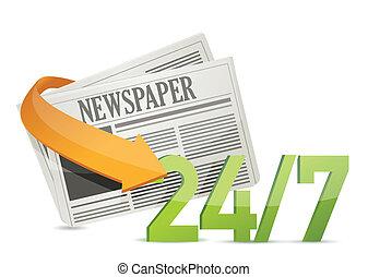 24, journal, concept, 7, nouvelles