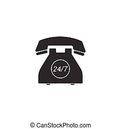 24, kund, fylld service, week., isolated., stöd, telefon, illustration, hour., timmar, call-center., vektor, dagar, 7, ikon, öppna, dag, all-day