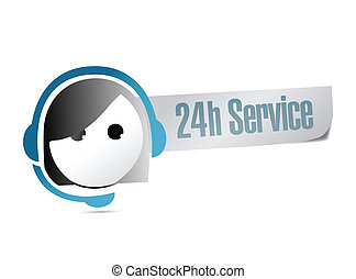 24, kund, timme, service, stöd, illustration