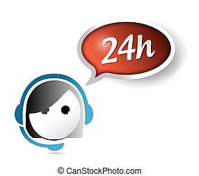 24, kund, timme, stöd, illustration, design