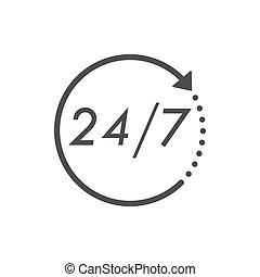 24, lägenhet, illustration., klocka, dagar, timmar, vektor, 7, tid, icon., ikon, design.