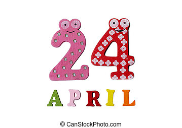 24, letters., avril, nombres, fond, blanc