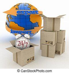 24, livraison, marchandises, heures, exécution, ligne, ...