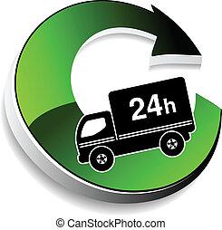 24, livraison, symbole, dans, -, heures, vecteur, camion