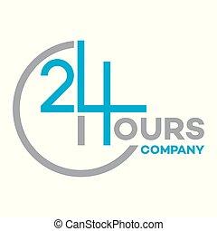 24, logotipo, ora, servizio