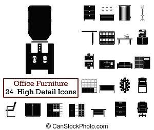 24, mobília, jogo, ícones escritório