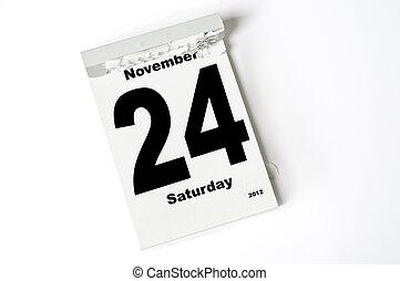 24. November 2012 - calendar sheet