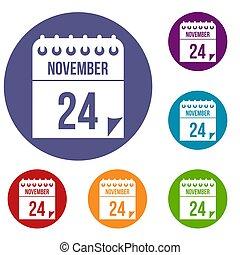 24 november calendar icons set