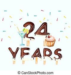 24 , number., χαιρετισμός , γενέθλια αγγελία , ευτυχισμένος