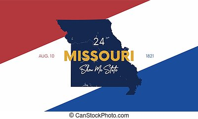 24 of 50 states of the United States with a name, nickname, and date admitted to the Union, Detailed Vector Missouri Map for printing posters, postcards and t-shirts