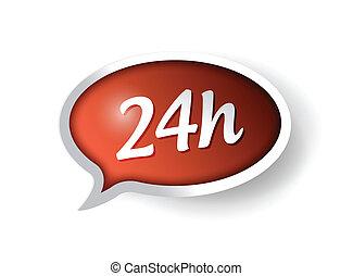 24 ora, sostegno, illustrazione, messaggio, bolla