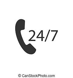 24, plat, illustration., horloge, jours, heures, vecteur, 7, temps, icon., icône, design.