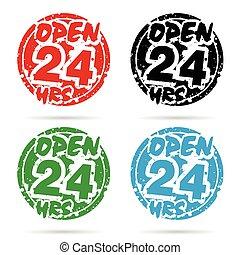 24, satz, stunde, farbe, abbildung, verschieden, design, rgeöffnete, ikone