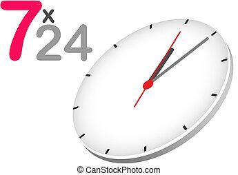 24, semaine, concept, jours, heures, 7, jour