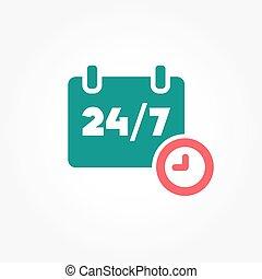 24, semaine, jours, /, heures, 7, jour, icône