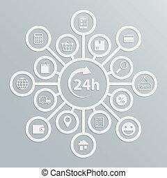 24, service clientèle, heures, diagramme, magasin ligne