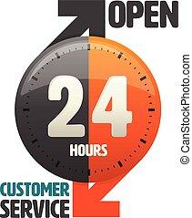 24, service clientèle, heures, ouvert, icône