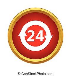 24, service clientèle, soutien, heures, icône