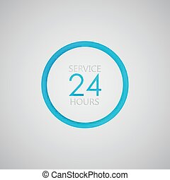 24, service, signe, heures, icon., ouvert, jour