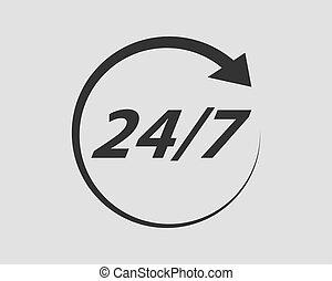 24 services heure, 24/7, clock., vector., icône