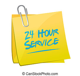 24 services heure, illustration, conception, poste