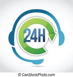24, sostegno cliente, illustrazione, ore, disegno