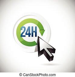 24, soutien, illustration, conception, 7, bouton
