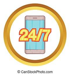 24, soutien, téléphone, vecteur, 7, icône