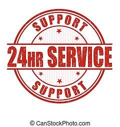 24, stämpel, timme, service