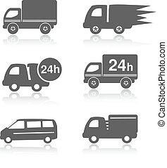 24, symboles, icônes, voiture, dans, livraison, vecteur, camion, heures, ombre