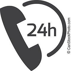 24, téléphone, illustration, arrière-plan., vecteur, noir, blanc, icône