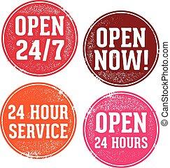 24 timmar, öppet underteckna