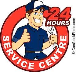 24 timmar, mekaniker, service, centrera