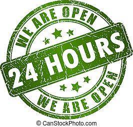 24 timmar, vektor, öppna, stämpel