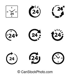 24 timmar, vektor, sätta, ikon