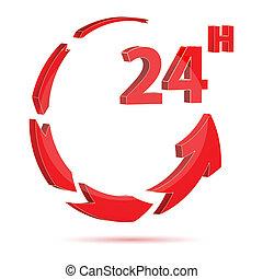 24 timme, ikon