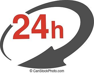 24, transport., box., paquet, symbole, signe, livraison, taux, vecteur, flèche, hours., vitesse, icône